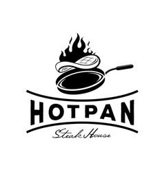 Hot pan steak house logo vector