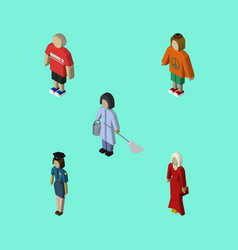 isometric person set of female guy lady and vector image vector image