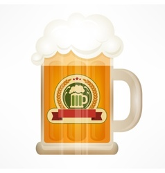 Light beer in glass mug vector image vector image