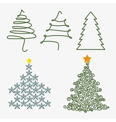 Merry christmas decorative stuffs and pine tree vector image vector image