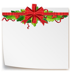 paper template with red ribbon and mistletoes vector image vector image