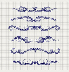 Pen decorative filigree swirled ornaments vector