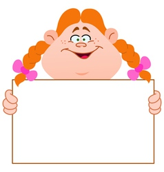 redhead girl with sign vector image vector image