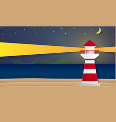 Sea and beach with lighthouse at night paper art vector