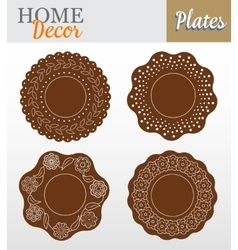Set of 4 decorative plates for interior design - vector image