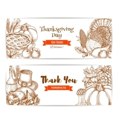 Thanksgiving greeting banners cards set vector