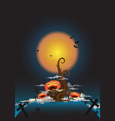 tree and halloween pumpkin at night vector image vector image