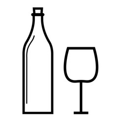 wine bottle wineglass icon vector image vector image