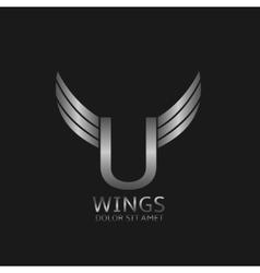 Wings U letter logo vector image vector image