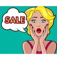 Woman Speech Bubble Sale Design Flat vector image vector image
