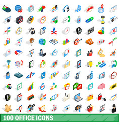 100 office icons set isometric 3d style vector