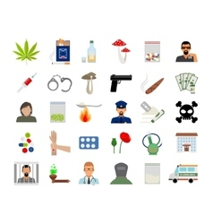 Drugs and addiction flat icons vector