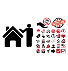 Realty buyer flat icon with bonus vector