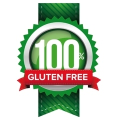 Hundred percent gluten free green ribbon vector