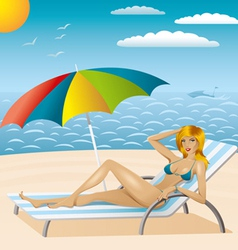 Sexy woman in bikini on the beach 2 vector