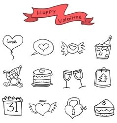 Icon of valentine with hand draw vector
