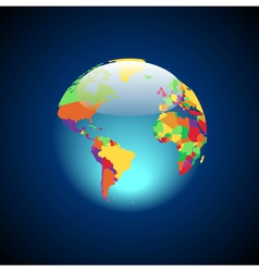 Globe with multicolored countries vector