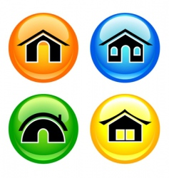 shiny home buttons vector image