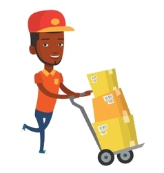 Delivery postman with cardboard boxes on trolley vector