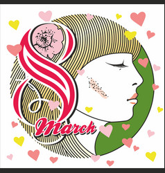 greeting card with 8 march womens day 14 vector image