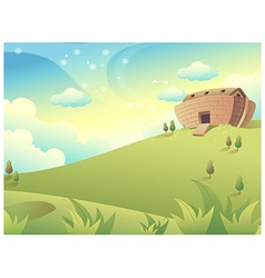 House on green mountain vector