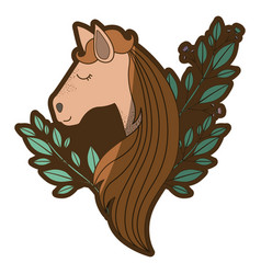 brown clear silhouette of female horse face with vector image