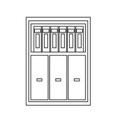 Cabinet shelf furniture wooden office book vector