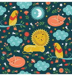 Lullaby pattern cute animals vector