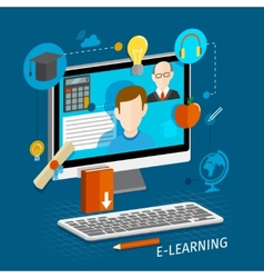 E-learning flat poster vector