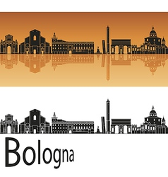 Bologna skyline in orange background vector