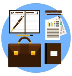 Concept of workplace with briefcase vector