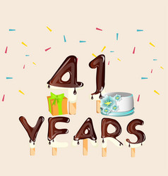 41 years happy birthday card vector image vector image