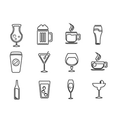 Icons drink set vector