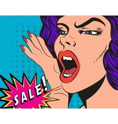 Woman with sale sign in pop vector