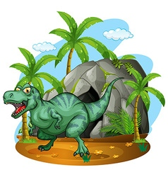T-rex living in the cave vector