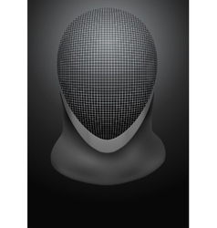 Dark background of fencing helmet vector