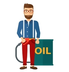 Man with oil can and filling nozzle vector
