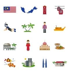 Malaysian culture symbols flat icons set vector