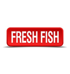 Fresh fish red 3d square button isolated on white vector