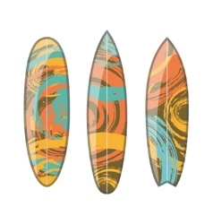 Set of decorated colorful surfboards vector