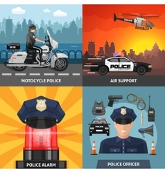 Colored Police Icon Set vector image