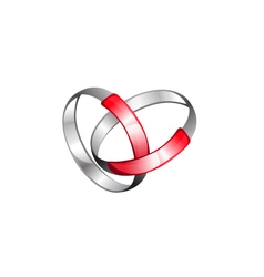 Metallic rings connection vector