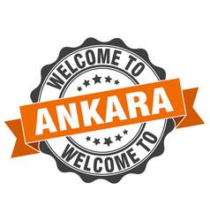 Ankara round ribbon seal vector