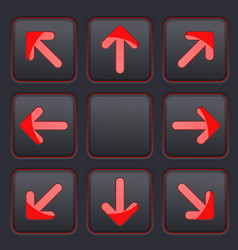 arrows key set red icons on black buttons vector image vector image