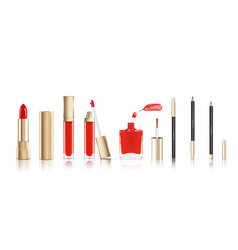 beautiful cosmetic set in gold lipstick lip vector image vector image