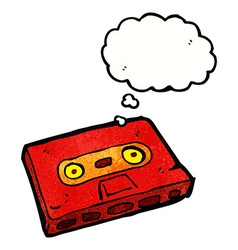Cartoon cassette tape with thought bubble vector