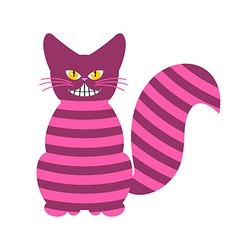 Cheshire cat magic animal with long tail striped vector