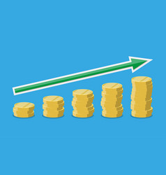 coins stacks with arrow upwards vector image vector image