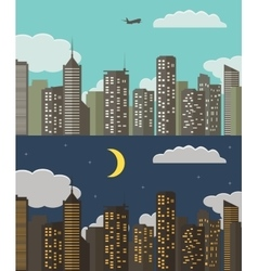 Day and night urban landscape summer city vector