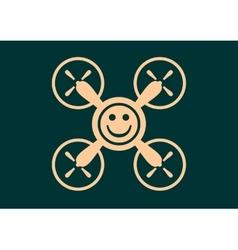Drone quadrocopter icon Smiley symbol vector image vector image
